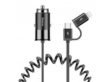 Baseus Enjoy Together nabíječka do auta 2v1 iPhone Lightning + USB-C (4,8A) / 1,2m