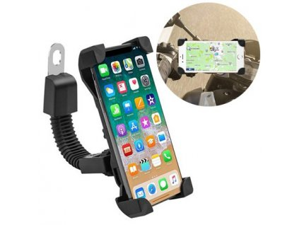 Univerzální držák na mobil pro motocykl / pozice zrcátka - černý
