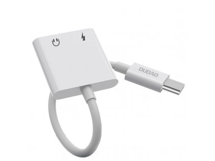 Dudao L13T adaptér USB-C / 3,5mm + USB-C jack bílý