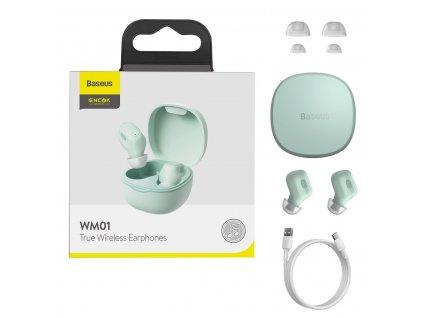 Baseus Encok WM01 TWS earphone bezdrátová sluchátka bluetooth BT 5.0 zelené
