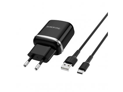 Borofone BA36 USB nabíječka QC 3.0 + kabel USB-C černá