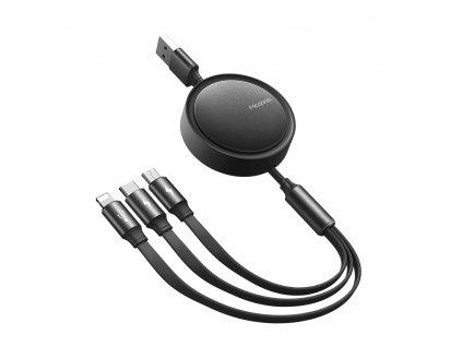 MCDODO CA-7250 USB kabel 3v1 Micro USB / USB-C / Lightning / 1,2m / svinovací - černý