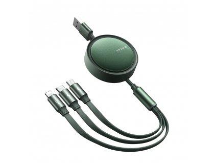 MCDODO CA-7251 USB kabel 3v1 Micro USB / USB-C / Lightning / 1,2m / svinovací - zelený