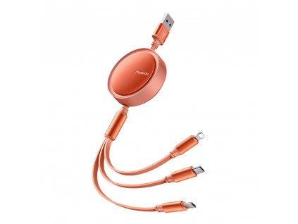 MCDODO CA-7252 USB kabel 3v1 Micro USB / USB-C / Lightning / 1,2m / svinovací - oranžový