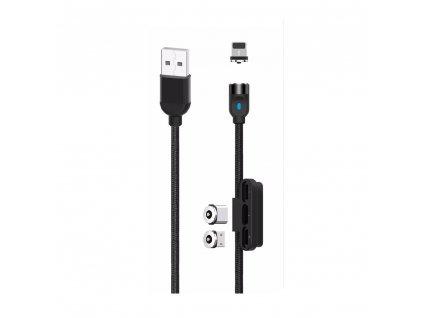 XO NB128 3v1 magnetický USB kabel - Micro USB / USB-C / Lightning / 1m / 2,4A černý