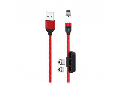 XO NB128 3v1 magnetický USB kabel - Micro USB / USB-C / Lightning / 1m / 2,4A červený