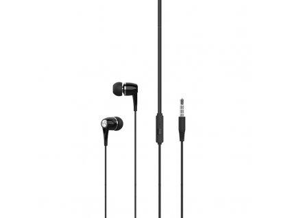 XO EP21 handsfree sluchátka s kabelem a ovladačem 3,5mm jack - černé