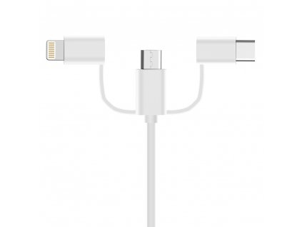 OEM USB kabel 3v1 iPhone Lightning / USB-C / Micro USB / 2A / 1m bílý