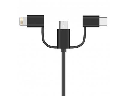 OEM USB kabel 3v1 iPhone Lightning / USB-C / Micro USB / 2A / 1m černý
