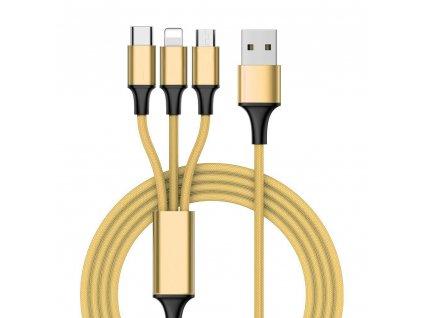OEM USB kabel 3v1 iPhone Lightning / USB-C / Micro USB / 2A / 1m zlatý