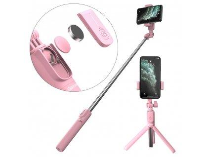 Baseus SUDYZP-F04 selfie tyč / tripod s dálkovým ovládáním / 65cm růžová