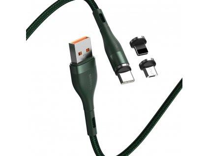 Baseus Zinc CA1T3-B06 magnetický USB kabel 3v1 Micro USB / USB-C / Lightning 5A/1m zelený