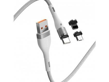Baseus Zinc CA1T3-B02 magnetický USB kabel 3v1 Micro USB / USB-C / Lightning 5A/1m bílý
