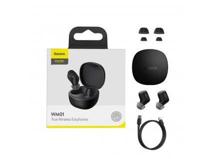Baseus Encok WM01 TWS earphone bezdrátová sluchátka bluetooth BT 5.0 černé