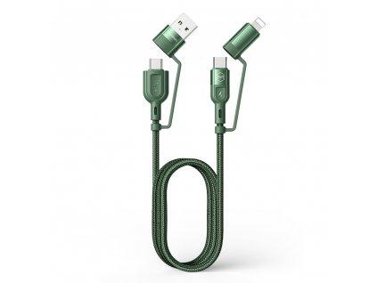 MCDODO CA-8071 USB kabel 4v1 USB + USB-C PD / USB-C + Lightning / 1,2m / 3A - zelený