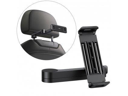 """BASEUS SULR-A01 držák do auta na opěrku hlavy  / s ramenem pro zařízení 4,7"""" - 12,3"""" černý"""