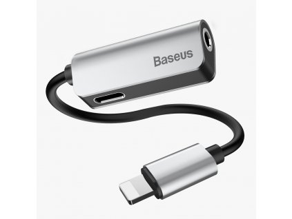 Baseus CALL32-0S adaptér pro Apple iPhone lightning 8pin / 3,5mm jack + 8 pin stříbrný