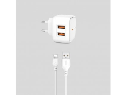 XO L61 nabíječka s výstupem 2x USB / 2,4A bílá + kabel pro iPhone Lightning
