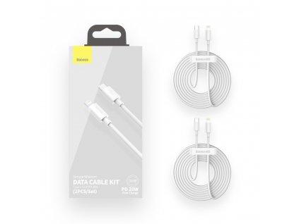 Baseus 2x USB kabel USB-C PD / Apple Lightning 1,5m / 20W bílý TZCATLZJ-02