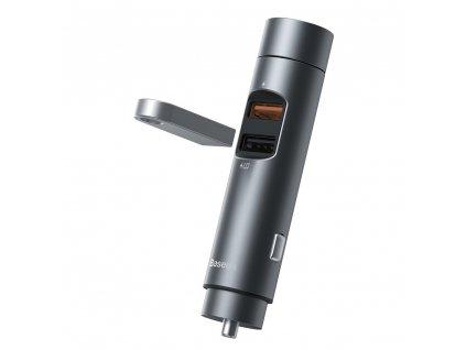 Baseus CCNLZ-C0G FM transmitter / 2x USB / 3A / 18W / BT 5.0 / QC 3.0 - šedý