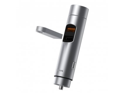 Baseus CCNLZ-C0G FM transmitter / 2x USB / 3A / 18W / BT 5.0 / QC 3.0 - stříbrný