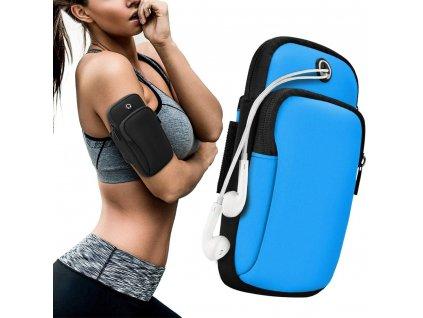 Sportovní pouzdro na rameno / paži na běhání s prostupem na sluchátka modré