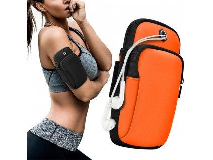 Sportovní pouzdro na rameno / paži na běhání s prostupem na sluchátka oranžové