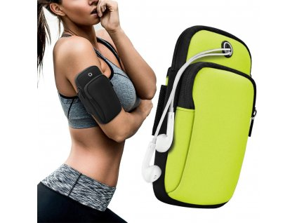 Sportovní pouzdro na rameno / paži na běhání s prostupem na sluchátka zelené