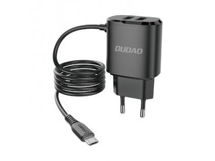 Dudao A2ProM nabíječka do sítě 2x USB / 12W / 5V / 2,4A + kabel Micro USB černá