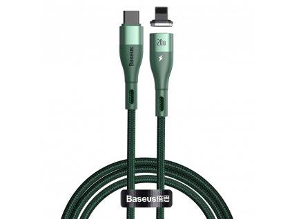 Baseus Zinc CATLXC-A06 magnetický USB-C PD kabel - iPhone lightning 2m / 20W zelený