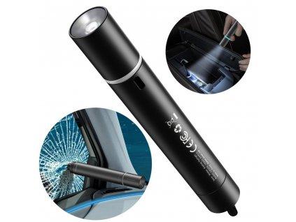 BASEUS CRSFH-B01 LED svítilna + bezpečnostní nástroj do auta na rozbití skla černá