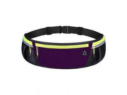 Sportovní pouzdro - ledvinka na běhání s prostupem na sluchátka / reflexní prvky - fialová