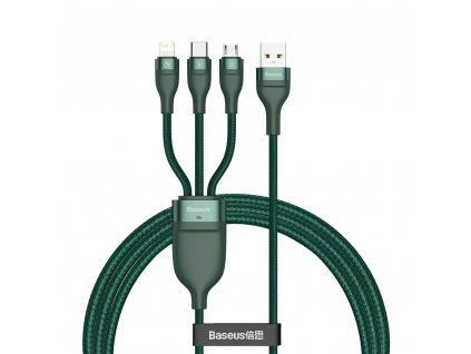 Baseus CA1T3-06 USB kabel 3v1 - USB-C / Micro USB / Lightning / 1,2m / 5A / 40W green
