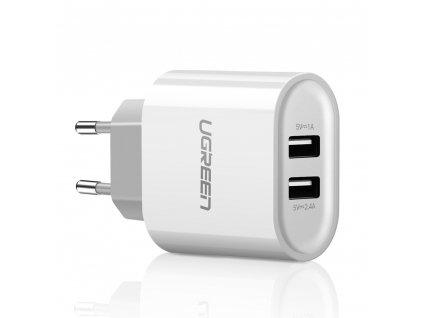 UGreen DC104 nabíječka s výstupem 2x USB / 1A + 2,4A bílá bez USB kabelu