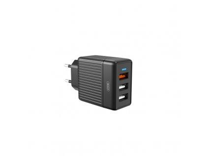 XO L58 nabíječka s výstupem 3x USB / QC 3.0 / 30W černá