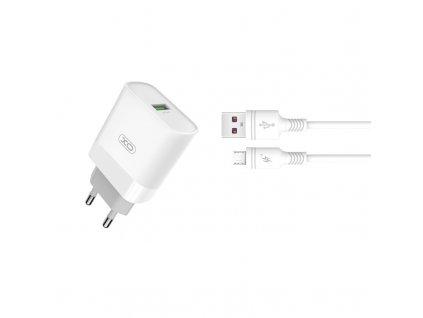 XO L63 nabíječka s výstupem USB / QC 3.0 / 2,4A bílá + kabel Micro USB