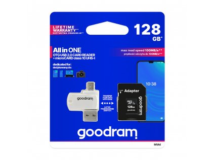 Goodram Micro SDHC 128GB Class 10 + SD adaptér + čtečka OTG, UHS-I, 100MB/s (M1A4-1280R12)