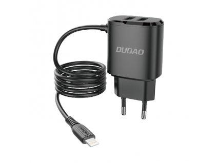 Dudao A2ProL nabíječka do sítě 2x USB / 12W / 5V / 2,4A + kabel iPhone Lightning černá