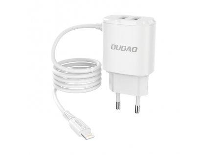 Dudao A2ProL nabíječka do sítě 2x USB / 12W / 5V / 2,4A + kabel iPhone Lightning bílá