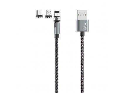 Dudao L9PRO magnetický USB kabel 3v1 Micro USB / USB-C / Lightning 3A / 1m šedý