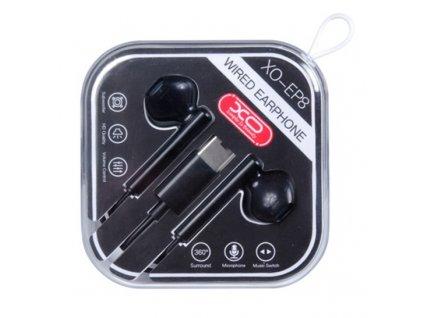 XO EP8 handsfree sluchátka s konektorem USB-C černé
