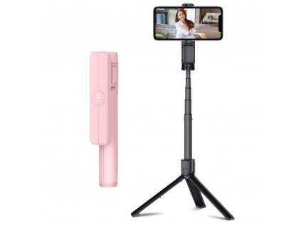 Remax XT-P018 selfie tyč / tripod s dálkovým ovládáním / 18-86cm růžová