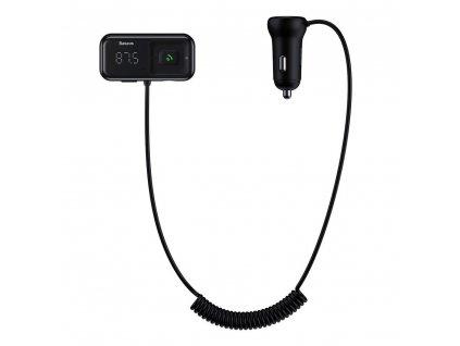 Baseus CCTM-E01 FM transmitter / 2x USB 3,1A / BT5.0 / Micro SD - stříbrný