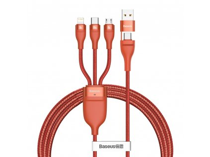 Baseus 3v1 USB / PD kabel Micro USB 18W / USB-C 100W / Apple Lightning 20W 1,2m/5A orange