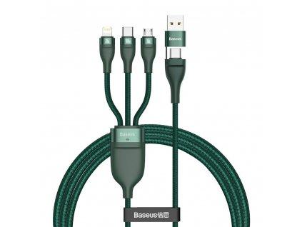 Baseus 3v1 USB / PD kabel Micro USB 18W / USB-C 100W / Apple Lightning 20W 1,2m/5A zelený