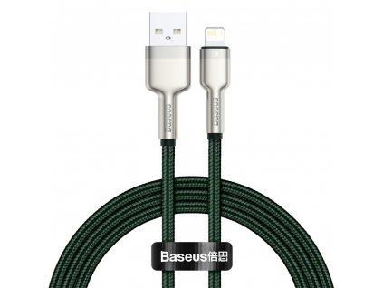 Baseus Cafule Metal USB kabel - iPhone Lightning / 2m / 2,4A zelený CALJK-B06