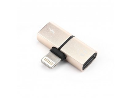 OEM adaptér Apple Lightning / 2x Apple Lightning / rozdvojení - zlatá