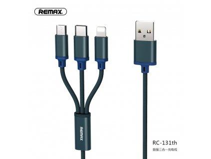 REMAX RC-131th datový kabel 3v1 Micro USB / USB-C / Lightning 2,8A / 1,15m - modrý