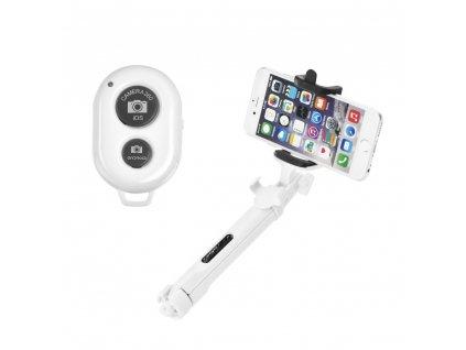 Combo Selfie tyč + stativ s bluetooth ovladačem bílá
