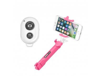 Combo Selfie tyč + stativ s bluetooth ovladačem růžová